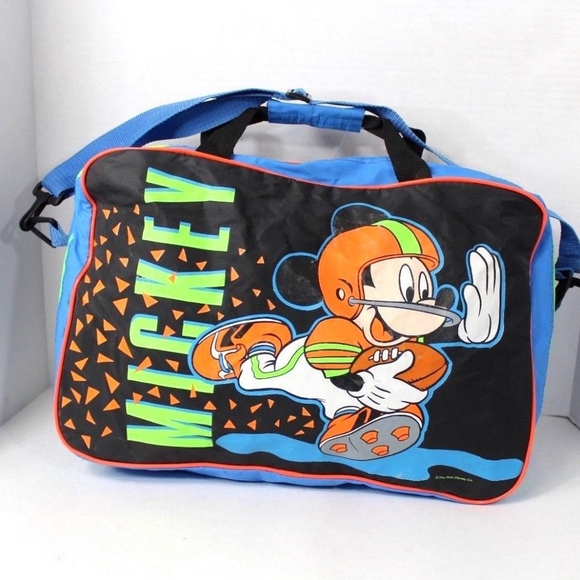 0736f8ba2eab Vintage Mickey Mouse Football Travel Duffel Bag